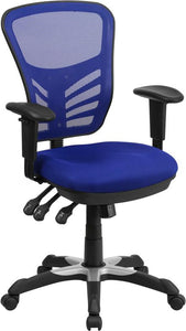 Mid-Back Blue Mesh Multifunction Executive Swivel Chair with Adjustable Arms - HL-0001-BL-GG