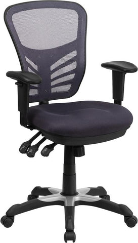 Mid-Back Dark Gray Mesh Multifunction Executive Swivel Chair with Adjustable Arms - HL-0001-DK-GY-GG