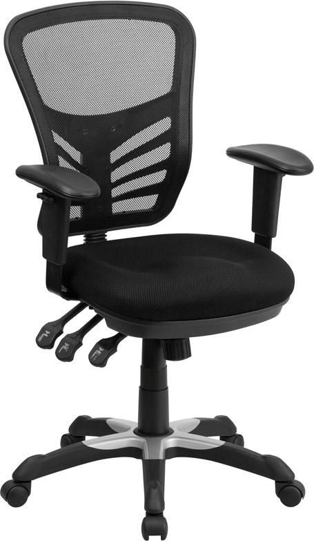 Mid-Back Black Mesh Multifunction Executive Swivel Chair with Adjustable Arms - HL-0001-GG