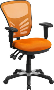 Mid-Back Orange Mesh Multifunction Executive Swivel Chair with Adjustable Arms - HL-0001-OR-GG