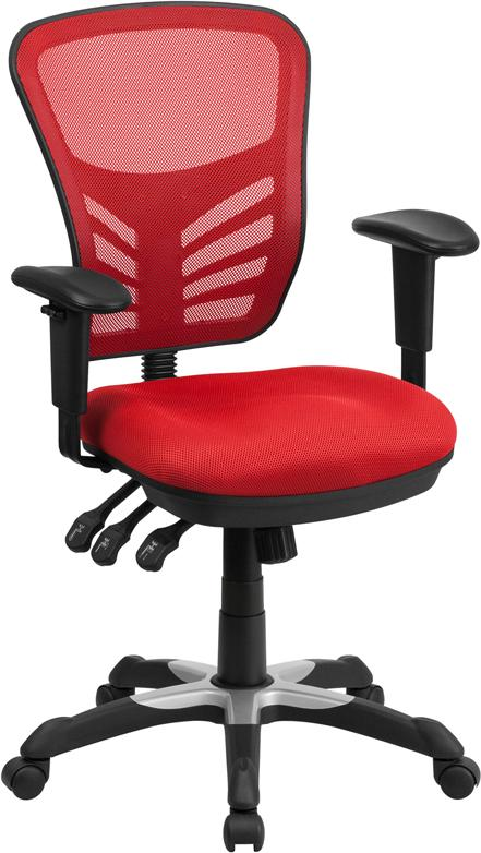 Mid-Back Red Mesh Multifunction Executive Swivel Chair with Adjustable Arms - HL-0001-RED-GG