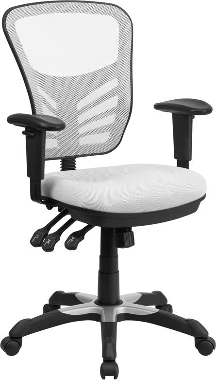 Mid-Back White Mesh Multifunction Executive Swivel Chair with Adjustable Arms - HL-0001-WH-GG