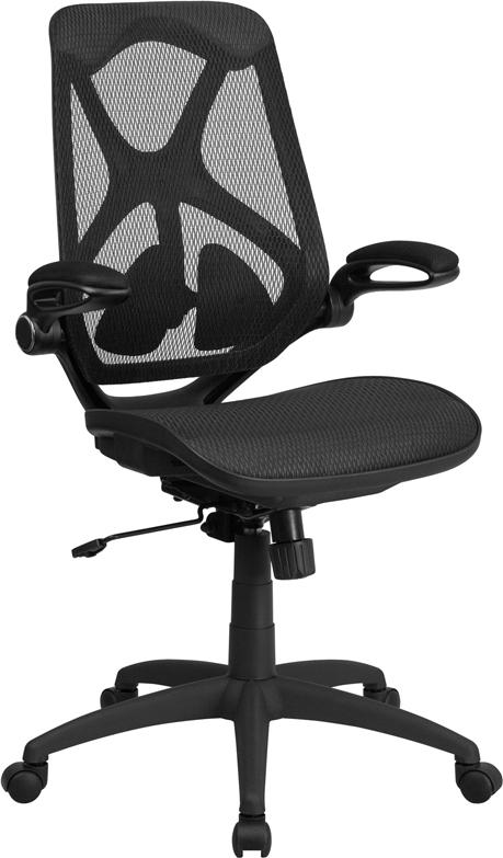 High Back Transparent Black Mesh Executive Swivel Chair with Adjustable Lumbar, 2-Paddle Control and Flip-Up Arms - HL-0013T-GG