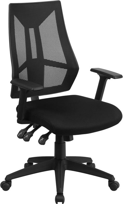 High Back Black Mesh Multifunction Swivel Task Chair with Adjustable Arms - HL-0017-GG