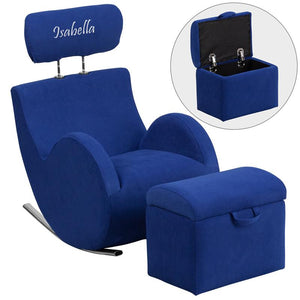 Hercules Series Rocking Chair and Ottoman Upholstery Type - Color: Fabric - Blue