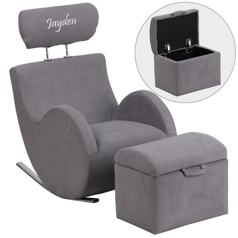 Hercules Series Rocking Chair and Ottoman Upholstery Type - Color: Fabric - Gray