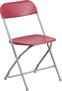 HERCULES Series 800 lb. Capacity Premium Red Plastic Folding Chair - LE-L-3-RED-GG