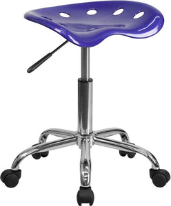 Vibrant Deep Blue Tractor Seat and Chrome Stool - LF-214A-DEEPBLUE-GG