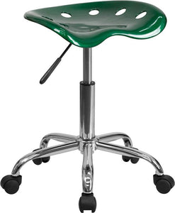 Vibrant Green Tractor Seat and Chrome Stool - LF-214A-GREEN-GG