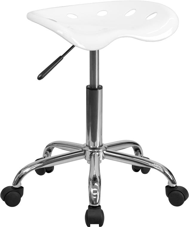 Vibrant White Tractor Seat and Chrome Stool - LF-214A-WHITE-GG