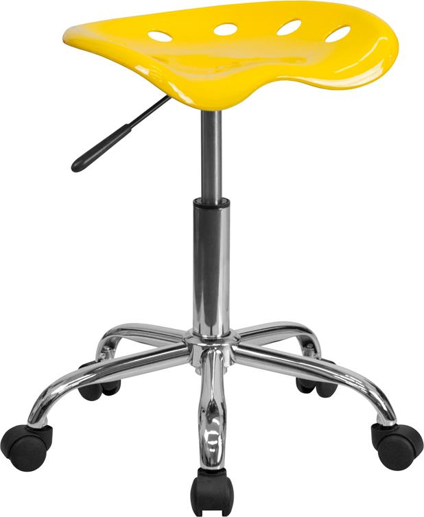 Vibrant Orange-Yellow Tractor Seat and Chrome Stool - LF-214A-YELLOW-GG