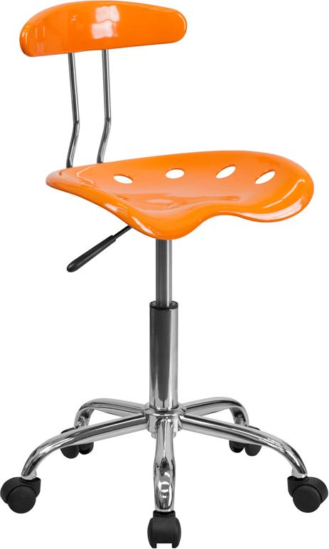 Vibrant Orange and Chrome Swivel Task Chair with Tractor Seat - LF-214-ORANGEYELLOW-GG