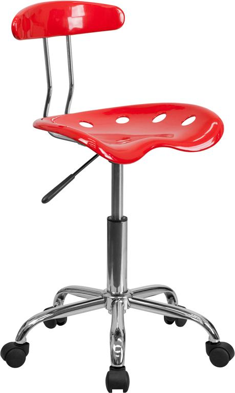 Vibrant Red and Chrome Swivel Task Chair with Tractor Seat - LF-214-RED-GG