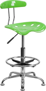 Vibrant Apple Green and Chrome Drafting Stool with Tractor Seat - LF-215-APPLEGREEN-GG