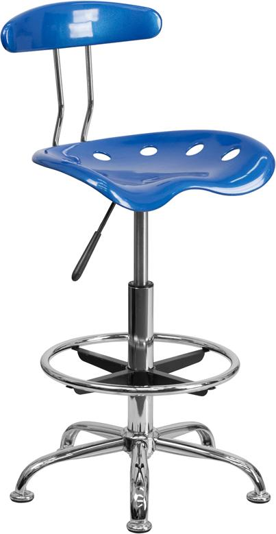 Vibrant Bright Blue and Chrome Drafting Stool with Tractor Seat - LF-215-BRIGHTBLUE-GG
