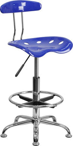Vibrant Nautical Blue and Chrome Drafting Stool with Tractor Seat - LF-215-NAUTICALBLUE-GG