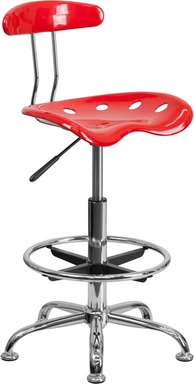 Vibrant Red and Chrome Drafting Stool with Tractor Seat - LF-215-RED-GG