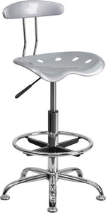 Vibrant Silver and Chrome Drafting Stool with Tractor Seat - LF-215-SILVER-GG