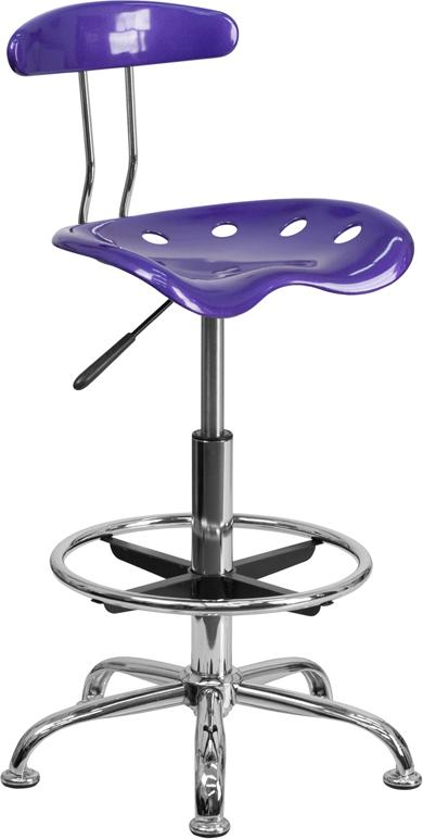 Vibrant Violet and Chrome Drafting Stool with Tractor Seat - LF-215-VIOLET-GG