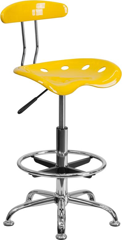 Vibrant Orange-Yellow and Chrome Drafting Stool with Tractor Seat - LF-215-YELLOW-GG