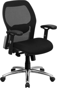Mid-Back Black Super Mesh Executive Swivel Chair with Knee Tilt Control and Adjustable Arms - LF-W42-GG