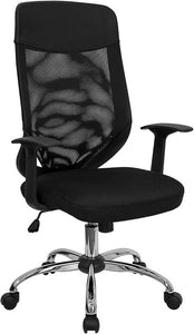 High Back Black Mesh Executive Swivel Chair with Arms - LF-W952-GG