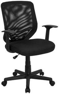 Mid-Back Black Mesh Swivel Task Chair with Arms - LF-W-95A-BK-GG