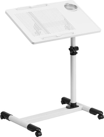 White Adjustable Height Steel Mobile Computer Desk - NAN-JG-06B-WH-GG