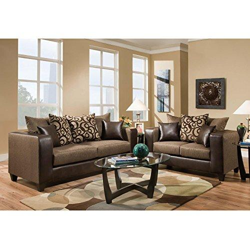 Riverstone Object Espresso Chenille Living Room Set - RS-4120-01LS-SET-GG