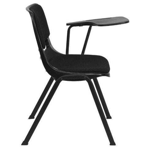 Black Padded Ergonomic Shell Chair with Left Handed Flip-Up Tablet Arm - RUT-EO1-01-PAD-LTAB-GG