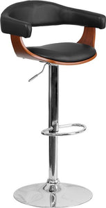 Walnut Bentwood Adjustable Height Barstool with Black Vinyl Seat - SD-2178-2-WAL-GG