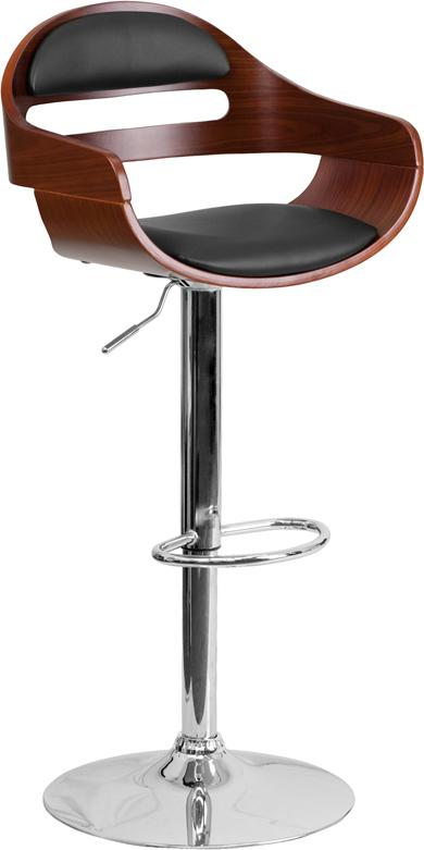 Walnut Bentwood Adjustable Height Barstool with Cutout Back and Black Vinyl Seat - SD-2199-WAL-GG