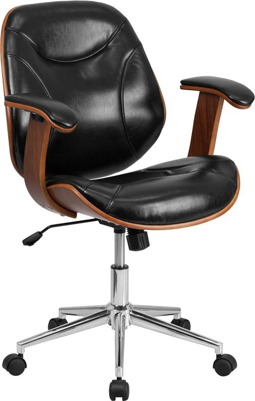 Mid-Back Black Leather Executive Wood Swivel Chair with Arms - SD-SDM-2235-5-BK-GG