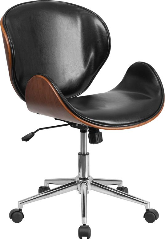Mid-Back Walnut Wood Swivel Conference Chair in Black Leather - SD-SDM-2240-5-BK-GG