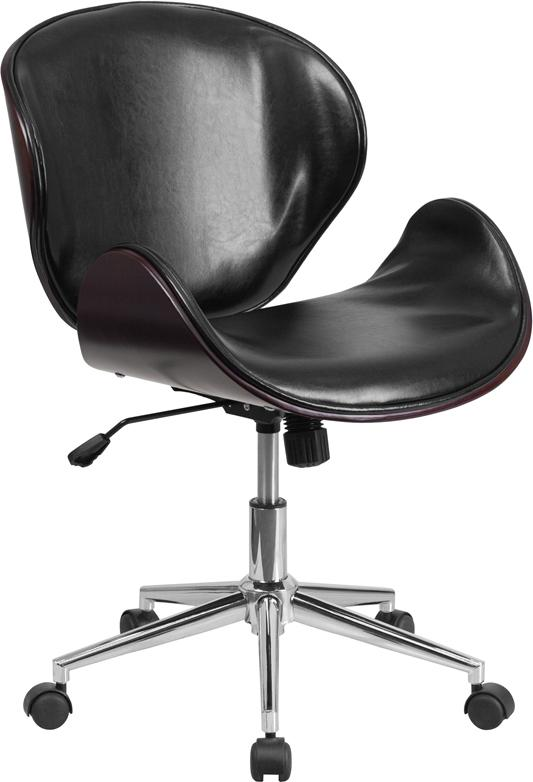Mid-Back Mahogany Wood Swivel Conference Chair in Black Leather - SD-SDM-2240-5-MAH-BK-GG