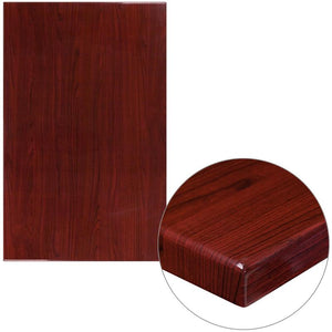 30 x 48 High-Gloss Mahogany Resin Table Top with 2 Thick Drop-Lip