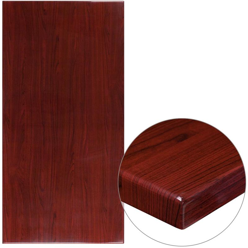 30 x 60 High-Gloss Mahogany Resin Table Top with 2 Thick Drop-Lip