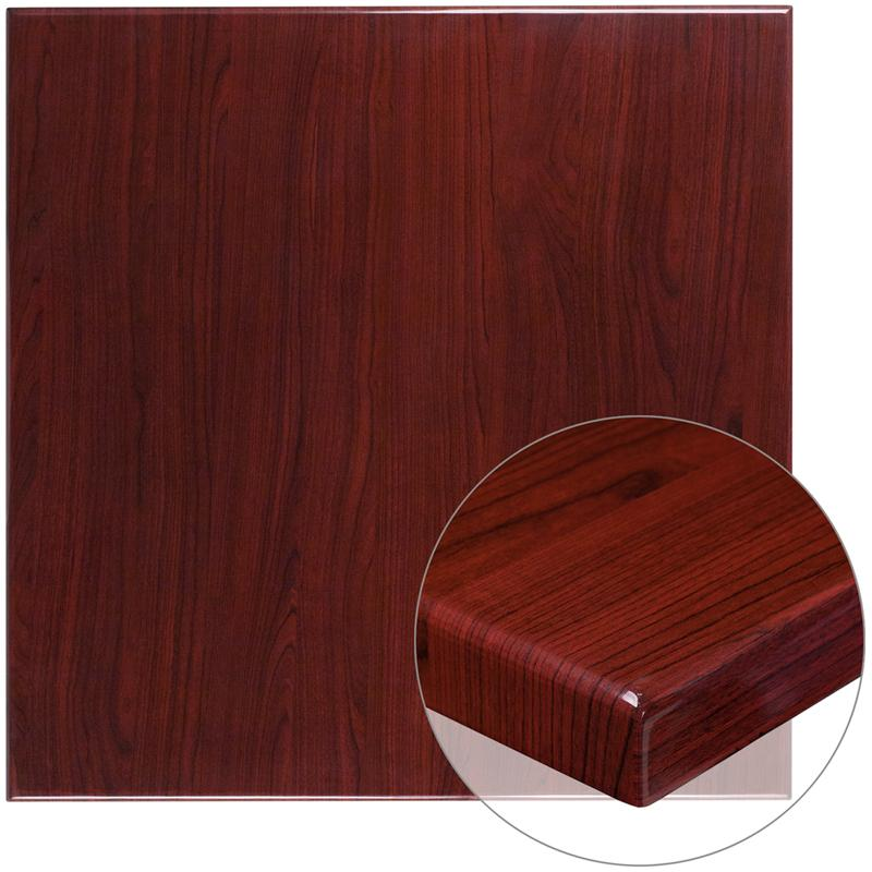 36 Square High-Gloss Mahogany Resin Table Top with 2 Thick Drop-Lip