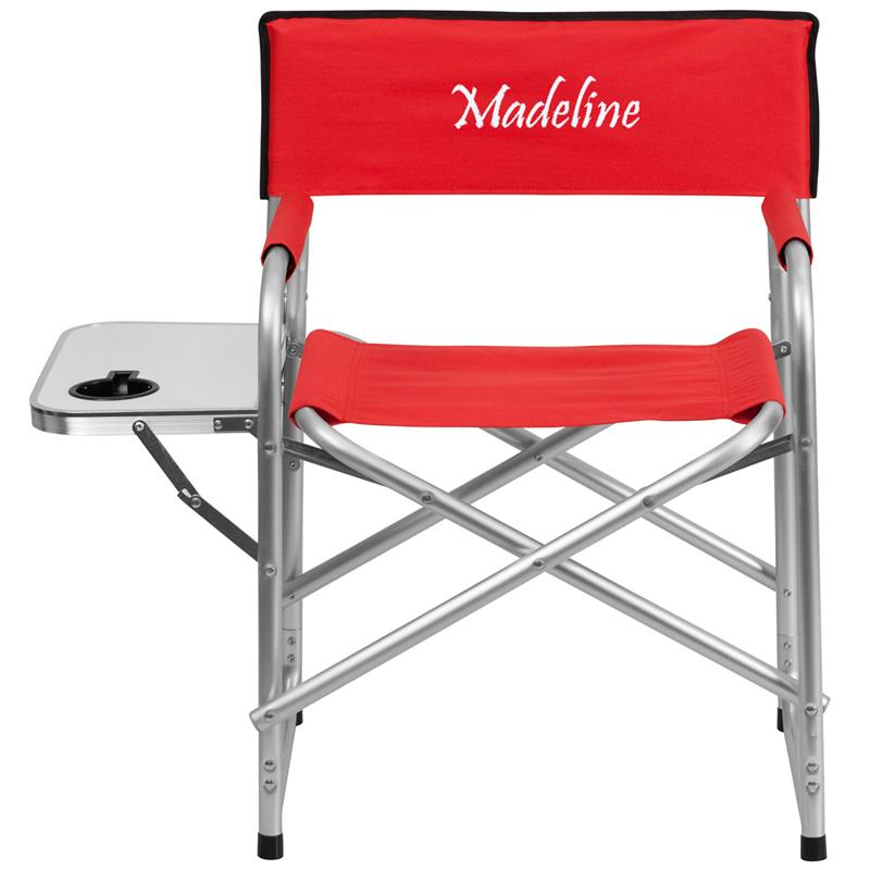 Flash Furniture Embroidered Aluminum Folding Camping Chair with Table and Dri