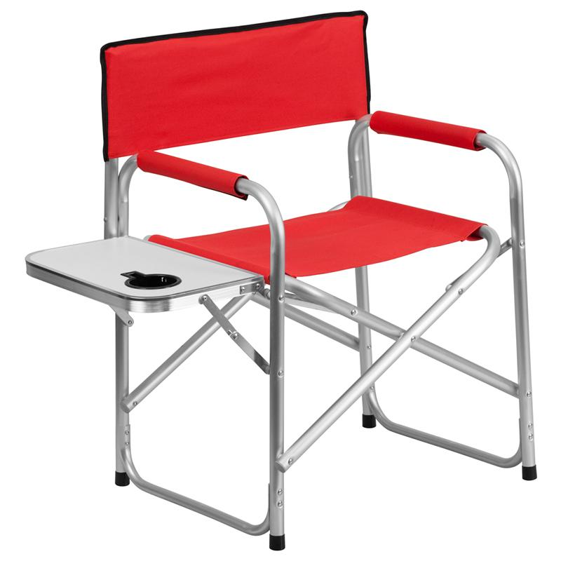 Aluminum Folding Camping Chair with Table and Drink Holder in Red