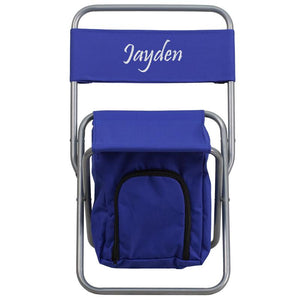 Flash Furniture Embroidered Folding Camping Chair with Insulated Storage in Blue
