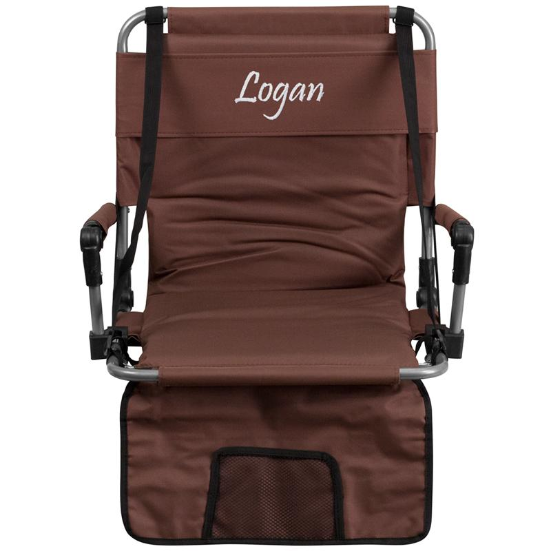 Embroidered Folding Stadium Chair Brown