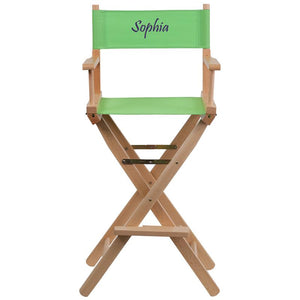 Flash Furniture Embroidered Bar Height Directors Chair in Green
