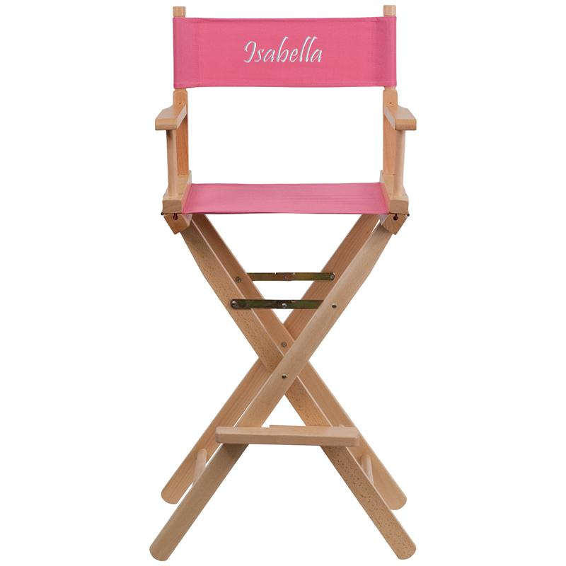 Flash Furniture Embroidered Bar Height Directors Chair in Pink