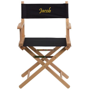 Flash Furniture Embroidered Standard Height Directors Chair in Black