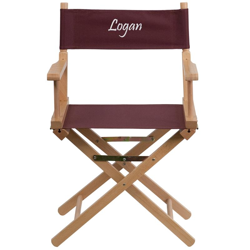 Flash Furniture Embroidered Standard Height Directors Chair in Brown