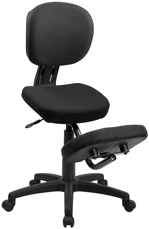 Mobile Ergonomic Kneeling Posture Task Chair with Back in Black Fabric - WL-1430-GG