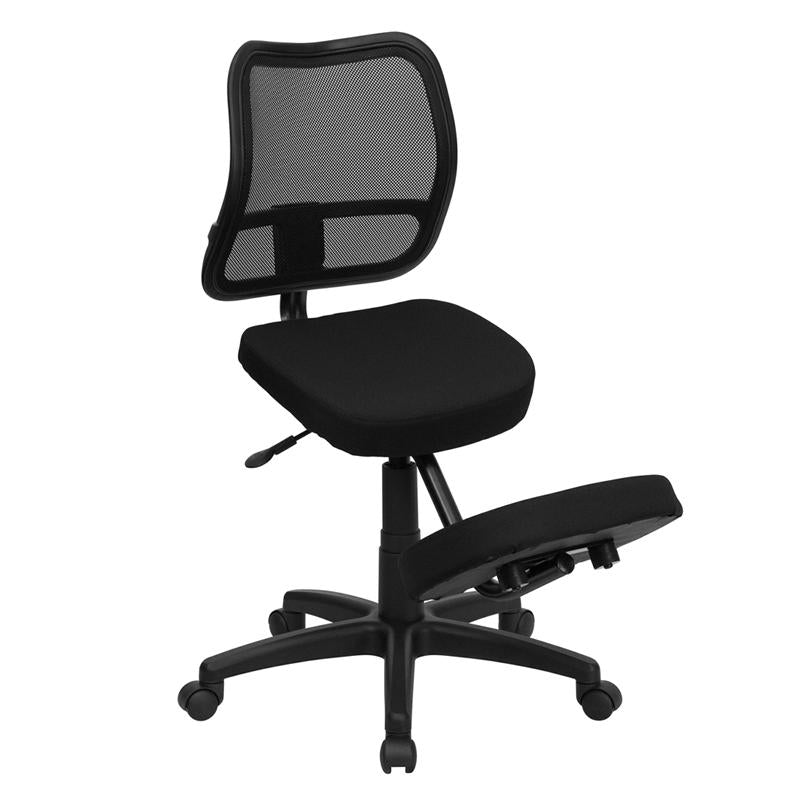 Mobile Ergonomic Kneeling Swivel Task Chair with Back in Black Mesh and Fabric - WL-3425-GG