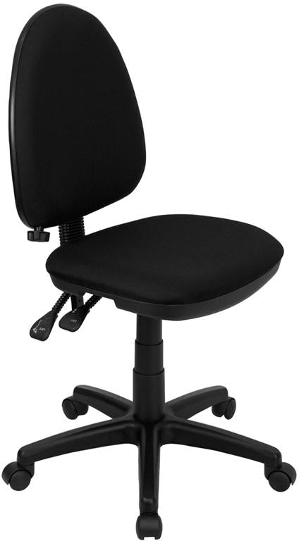 Mid-Back Black Fabric Multifunction Swivel Task Chair with Adjustable Lumbar Support - WL-A654MG-BK-GG