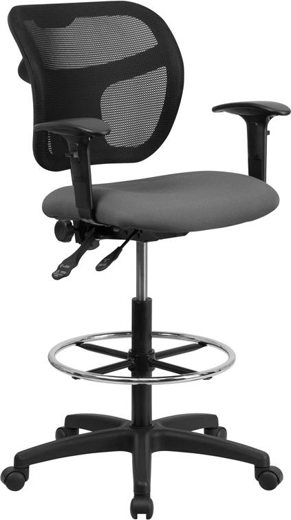 Mid-Back Gray Mesh Drafting Chair with Adjustable Arms - WL-A7671SYG-GY-AD-GG